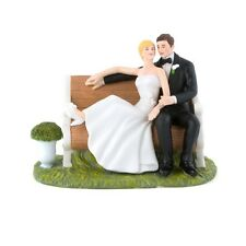 Sitting Pretty on a Park Bench Couple Cake Topper Romantic Reception Gift Serene