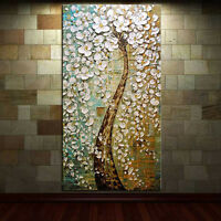 "20""x40"" Hand-painted Abstract Canvas Oil Painting PEACOCK TREE /NO Frame"
