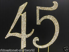 Gold  Rhinestone  NUMBER (45) Cake Topper 45th Birthday Party Anniversary