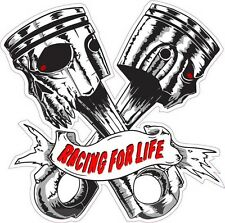 """Skulls Racing for Life Decal Lardge is 10"""" in size."""