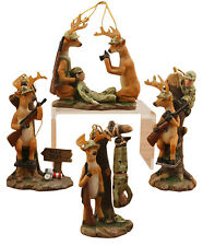 Funny Hunter Deer Man Bait Christmas Holiday Ornaments Set of 4