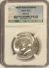 1964 P NGC MS65 SILVER KENNEDY HALF DOLLAR FIRST YEAR ISSUE LABEL 90% COIN JFK
