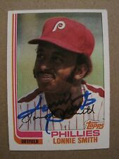 LONNIE SMITH autograph baseball card 1982 Topps #127 signed Phil Phillies auto