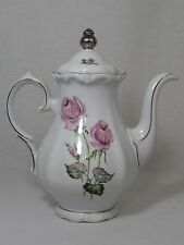 Mid Century Wissterling Roslau Bavaria Coffee Tea Pot Pink Roses Silver Trim 10""