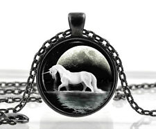Unicorn Necklace Pendant - Fantasy White Horse Moon Jewelry - Xmas Birthday Gift