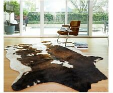NEW Cowhide Beige Brown Area Rug Faux Cow Rawhide Animal Print Rustic Hide Cabin