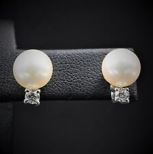 Tiffany & Co 18k White Gold Signature Pearl Diamond Screw Back Earrings CO147