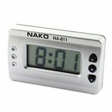 Car Home Silver Tone Digital LCD Desk Wall Clock N3