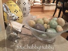NIB Pottery Barn ~FARMER BUNNY~ WHEELBARROW Serving BOWL ~EASTER~ Rabbit ��