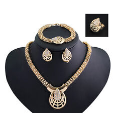 African Bridal jewelry sets KC Gold rhinestone necklace earring ring bracelets