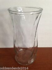 """Brody Co. Large Round Glass Vase 9 1/2"""" Tall Ribbed Pattern C973"""