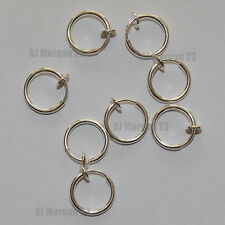 One Silver 13mm Fake Nose  Ear Ring. Spring Clip holds it in place in nose ear.