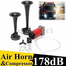 12V 178DB Dual Trumpet Air Horn Compressor Kit Car Truck Train Boat Super Loud
