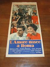 LOCANDINA 1958,L-AMORE NASCE A ROMA,CLAUDIO VILLA,MORICONI,CAMPANINI,CAROTENUTO