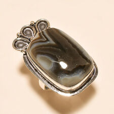 NATURAL BOTSWANA AGATE 925 SILVER GEMSTONE RING HANDMADE JEWELRY s7