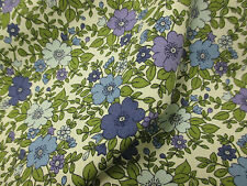 "Blue & Green ""Pastel""  Floral/Flowers 100% Cotton  Printed Fabric."