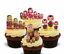 Matriochka poupées russes comestible cupcake toppers, stand-up décorations russie