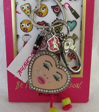 Betsey Johnson Marilyn Monroe Keychain Ring Fob Charms Pave Crystals NEW!