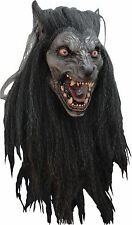 BRAND NEW Wolf Monster DELUXE ADULT LATEX BLACK MOON WEREWOLF MASK W/ HAIR