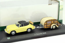 PORSCHE 356b cabriolet con roulotte GIALLO/Beige 1:43 Hongwell