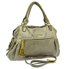 Authentic MIUMIU Logos 2way Hand Bag Light Green Leather Vintage Italy S04484