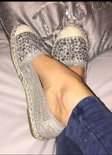 BNWOB Ladies Grey Lace Stud Espadrilles Shoes Flats Pumps Size 4/37