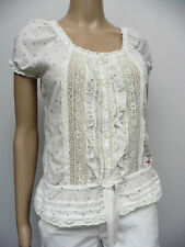HOLLISTER WHITE COTTON SPOT BLOUSE LACE FRONT, WAIST TIE SIZE S/UK12 APR36U
