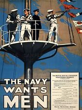 PROPAGANDA WAR WWI CANADA SAILOR RECRUIT NAVY SHIP FLAG ART POSTER PRINT LV7194