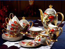 15PCS Bone China Golden Napoleon Coffee Tea Set Pot/Sugar/Creamer/Cup/Saucer