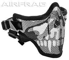 2G Strike Steel Mesh Airsoft Paintball Half Mask Face Protector - Black w Skull
