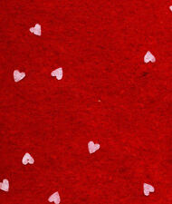PRINTED PATTERN Felt Red with small white hearts