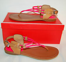 New $138 Coach Coco Fluorescent Matte Pink Ginger Brown Leather Thong Sandal 5.5
