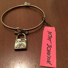Betsey Johnson Wanderlust Lovers Map Lock Antique Bangle Bracelet NWT $38.00