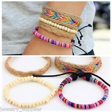 Retro Women Bead Bracelet Colorful Hemp Rope Braided DIY Cuff Bangle Adjustable