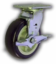 "6"" x 2"" Polyurethane Wheel & Swivel Caster w/ Top-Lock Brake - Heavy Duty 1000#"