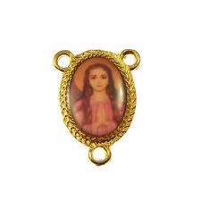 St. Philomena gold metal center connector for rosary beads 25mm