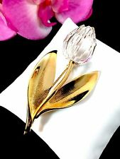 SWAROVSKI CRYSTAL MEMORIES CLASSICS 18K GOLD PLATED LEAVES & FLOWER ROSE BROOCH