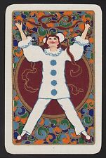 1 Single VINTAGE Swap/Playing Card DECO CLOWN LADY RIBBONS POM POM Gold Detail