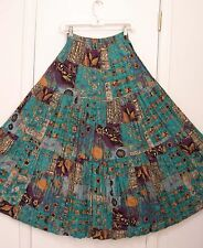 3 Tiered FLORAL Green Black Purple Brown Beige RAYON Peasant Skirt S/M/L/OS