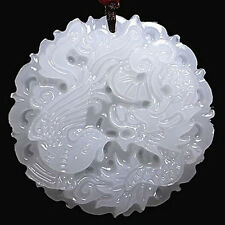 1Pc White Jade Dragon and Phoenix Auspicious Pendant Car Home Wall Hanging Decor