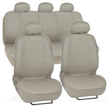 PU Synthetic Leather Beige Seat Cover Car Genuine Leather Feel Front & Rear Set