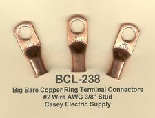 """20 Bare Battery COPPER Ring Lug Terminal Connector #2 Wire Gauge 3/8"""" Stud MOLEX"""