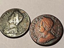 Great Britain 1/2 Penny 1729 And 17-6 Copper Two Coins