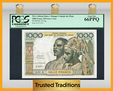 TT PK 103Ag WEST AFRICAN STATES IVORY COAST 1000 FRANCS PCGS 66 PPQ GEM NEW