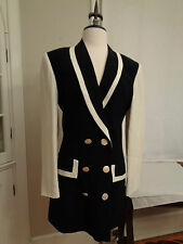 LOUIS FERAUD black & white double button front blazer made in Germany women's 4