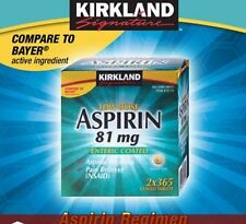 Kirkland Low Dose Aspirin 81mg Enteric Coated Pain Reliever 730 Tablets EXP 9/18