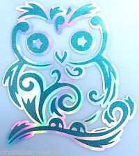 Fancy Swirl Owl Teal Glitter Holographic Vinyl Car Decal Sticker Laptop 15-91