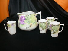 Antique Nippon Japan PORCELAIN LEMONADE SET w/GRAPES & MORIAGE Pitcher 4 Glasses