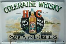 Coleraine Whisky Blech Schild 20x30cm Pure Malt Irish Whiskey a. Taylor Glasgow