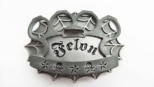 2003 FELON CLOTHING Pewter Enameled Skull Star BELT BUCKLE